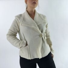 EVA TRALALA DESIGNER CREAM PURE WOOL SMART JACKET BLAZER SIZE S 12 14 11703