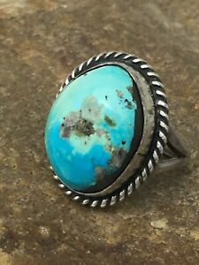 Native American Zuni Sterling Silver Turquoise Ring Set 5 4409