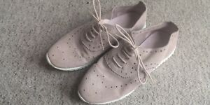 Next nude Flat Suede Style Mules Shoes Size 4 37