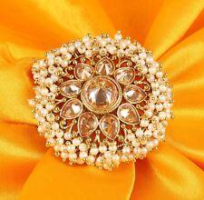 Indian CZ Stone Big Women Finger Ring Adjustable Bridal Engagement Party Wear