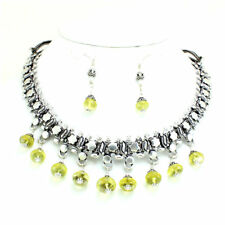 Necklace earrings natural yellow lemon quartz gemstone handmade beaded 72 grams