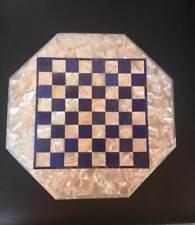 "18"" marble game chess table top center inlay random malachite room decor"
