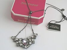 NEW JUICY COUTURE LARGE RHINESTONE STATIONED BLACK NECKLACE RETIRED