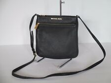 Michael Kors Riley Black Leather Small Flat Crossbody Messenger Bag