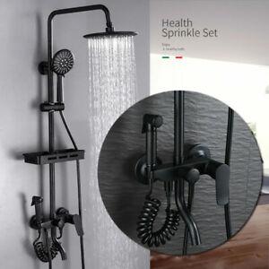 Bathroom Thermostatic Mixer Shower Set Square / Round Matte 3 Head Exposed Valve