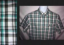 CHAPS Green lightweight plaid short sleeve Button-Down Dress Shirt. Men's M. O8
