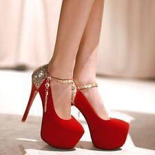 womens Bridal wedding shoes ankle strap bling stiletto heels platform shoes pump