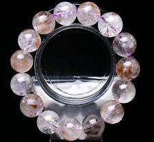 14.5mm Natural Purple Titanium Crystal Brazilian Beads Bracelet AAAA+