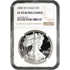 2005-W Proof $1 American Silver Eagle NGC PF70UC Brown Label