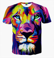 Lion Colourful T-Shirt [animal alternative art graffiti unique hipster tie dye]