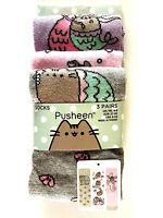 3 Paar Pusheen The Cat Damen Socken Katze Meerjungfrau Lustig 37-42 Bunt Primark
