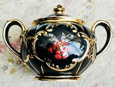 Rare Antique Art Deco (1920s) 24ct Gold Gilded & Hand Painted Sadler Sugar Pot
