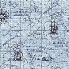 Fat Quarter On Course Indigo Cove Map Sailor Sea Cotton Sewing Quilting Fabric