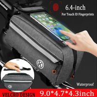 9'' Cycling Bike Front Tube Frame Bag Waterproof Bicycle For Phone Holder Bag
