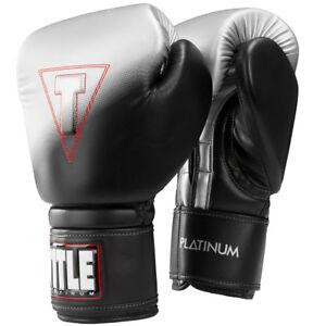 Title Boxing Platinum Proclaim Power Hook and Loop Bag Gloves - Black/Silver