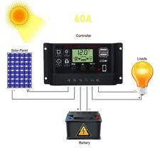 10-60A Dual USB Solar Panel Battery Regulator Charge Controller 12V 24V w/ LCD