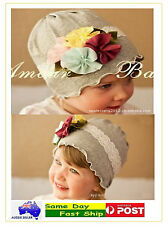 Grey Cotton Flower Floral Lace Baby Infant Toddler Boy Girl Hats Child Beanie