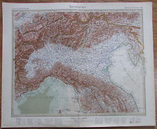 NORDITALIEN - Italia Settentrionale 1926 Kupferstich Alte Landkarte Old Map