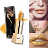 Vogue Women Metallic Waterproof Gilt Yellow Lipstick Cosmetics Lips Beauty Tool