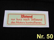 Aufkleber Ölstand Mercedes W107 W108 W109 W110 W111 W112 W113 W114 W115 W116