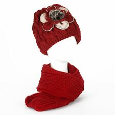 Winter Chunky Knit Beanie Hat with Fleece Lining & Scarf Set with Multi Colour