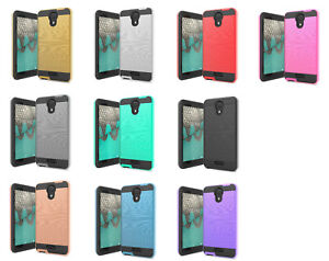 For Cricket Vision 2 U304AC Metallic Slim Brush Hybrid Case Phone Cover