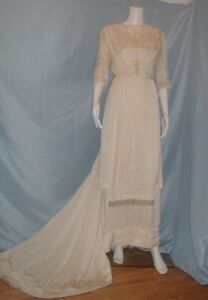 Antique Dress Edwardian 1912 Ivory Satin Wedding Gown Pearl and Lace Trim