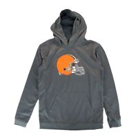 Cleveland Browns NFL Primary Team Logo Grey Performance Pullover Hoodie Youth