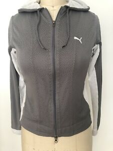 Puma Womans Hooded Track Suit Gray White Zipper Jacket S Elastic Pull String M