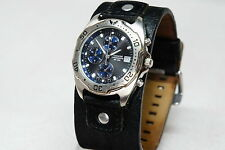 Accurist chronograph Date MB527B + black leather strap WR 50m