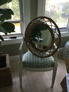 """EXC CONDITION Vintage Rosenthal Netter Round Natural Bamboo Wall Mirror - 25"""" TW"""