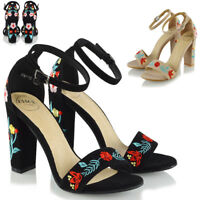 Womens Strappy Sandals Flower Embroidered Heel Peep Toe Ladies Party Shoes Size