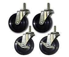 """3"""" Stem Casters w/ 5/16"""" x 1"""" Stem & Polypropylene Wheel (Set of 4; 2 w/brakes)"""