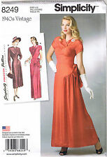 Vtg 40s Formal Gown Cocktail Dress Prom Party Sewing Pattern Plus 14 16 18 20 22