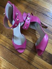 Valentino pink leather rock stud peeptoe ankle strap zip sandals