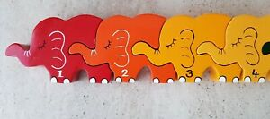 Wooden Elephants Number Chunky Puzzle Jigsaw 1-10 Pre-school Counting
