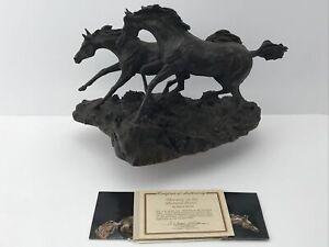 Morning On Montanta Plains Monroe Bronze Horse Sculpture Franklin Mint + COA