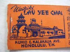 1940's Waikiki Lau Yee Chai Chinese-American Honolulu T H Bobtail Matchcover