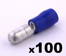 100 Blue Male Insulated Bullet Connector Terminals- Crimp electrical cable wire