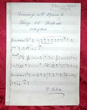 Antico Spartito Manoscritto Giuseppe Verdi La Forza del Destino per Clarino Sib