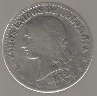 COLOMBIA COIN BOGOTA 2 DECIMOS 1872  VF