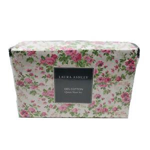 Laura Ashley 4 Piece Natalie Pink Green Florals White Cotton Queen Sheet Set