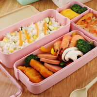 Kids 2 Tier Leak-Proof Wheat Lunch Box Food Container Straw Microwave Bento