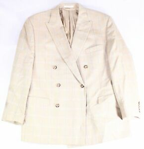 Lauren by Ralph Lauren Mens Sports Coat Beige Size 46 Silk Windowpane $350 #002