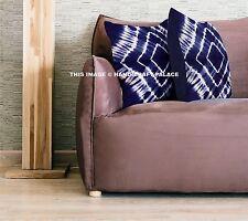 """Indian Tie Dye Shibori Cotton Cushion Cover Home Decor Throw 16"""" Blue Sofa Sham"""
