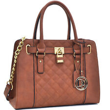New Womens Handbags Leather Satchel Bags Tote Bag Top Handle Padlock Purse Brown