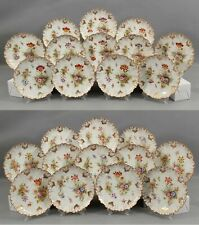24 Antique Gold Gilt French Limoges Flower Painting Porcelain Plates Dessert Set