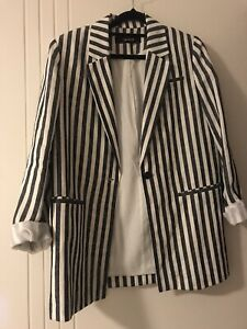 Zara Linen Striped Blazer - Good Condition Sz S/M