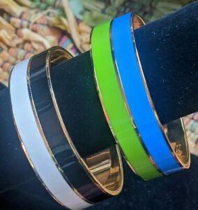 Lot of 2 ~ Kate Spade Take A Chance Bangle Bracelets Gold Blue Green Black White