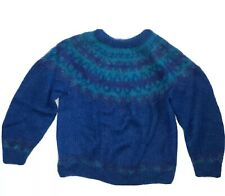 Icelandic Design Handknit Mohair Pullover Sweater Size Large Turquoise Blue
